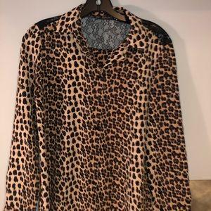 Zara leopard print black lace button down XS
